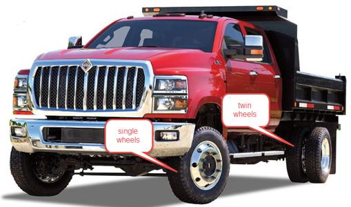 twin rear wheels and single front wheels