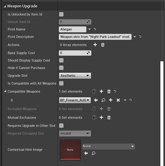 Blueprint weapon upgrade tabs