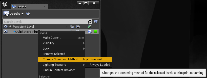 Changing streaming method of a level