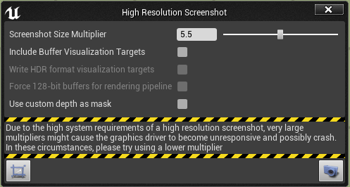 High resolution screenshot dialog