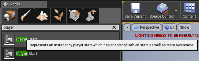 Player Start actor in toolbar