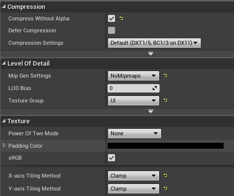 Map overview compression settings