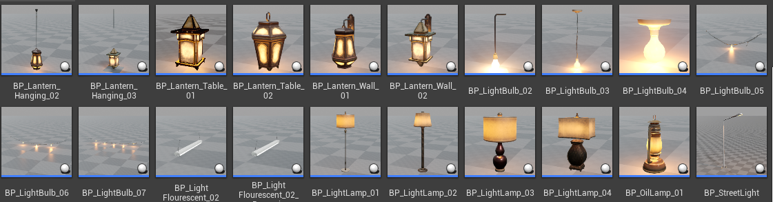 Blueprint lights in content browser