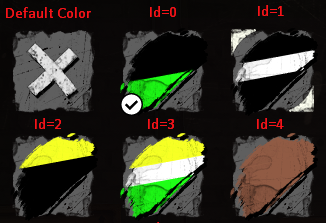 ids of color buttons